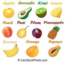 set, illustrazione, nomi, fondo, frutte, bianco