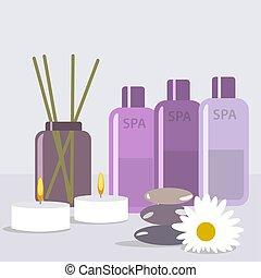set, illustrazione, olio, manifesto, trattamenti, aromatico, vettore, pubblicità, candele, terme, sale, salon., massaggio