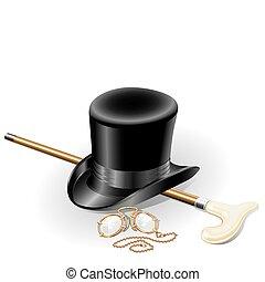 set, illustrazione, pince-nez, isolato, punto, accessori, walkingstick, vettore, retro, fondo, cappello bianco