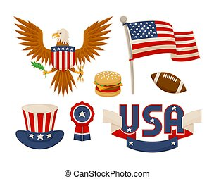 set, illustrazione, simboli, americano, vettore, vario
