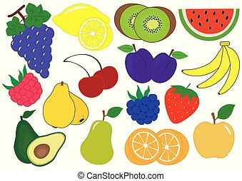 set, illustrazione, vettore, icons., frutte, bacche, cartone animato