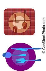 set, illustrazioni, di, piastra, con, forchetta, coltello,