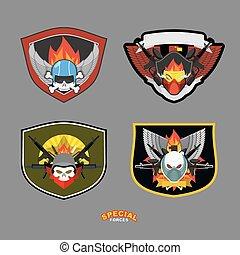 set., ilustração, vetorial, unidade, militar, logotipo, especiais