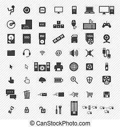 set., ilustración de la computadora, iconos