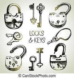 set., ilustración, llaves, vector, bosquejo, cerraduras, mano, dibujado