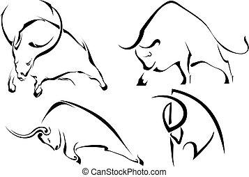 set, immagini, astratto, illustrazione, fondo., vettore, nero, bulls., selvatico, bianco, bufalo