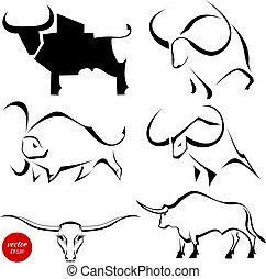 set, immagini, astratto, illustrazione, stilizzato, fondo., vettore, nero, bulls., selvatico, bianco, bufalo