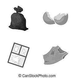 set, immondizia, cornice, monocromatico, stile, icone, strappato, finestra, rifiuti, casato, simbolo, web., collezione, rotto, illustrazione, glass.garbage, raster, t-shirt, sporco, conchiglia, uovo, borsa