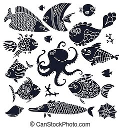 Set imprint cute fish and octopus for the design.