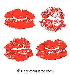 Set imprint kiss red lips isolated on white background