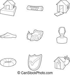 set, incidente, icone, stile, contorno