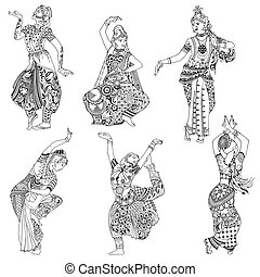 set Indian dancers - Indian dancer in the style mihendi on a...
