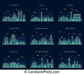 Set Indian skylines Mumbai Delhi Jaipur Kolkata - Set of...