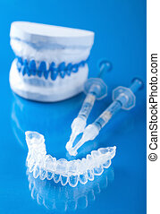 set, individuale, imbiancando, denti