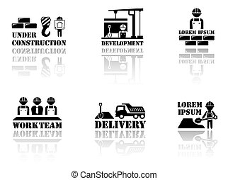 set industrial symbols with reflection silhouette - set...