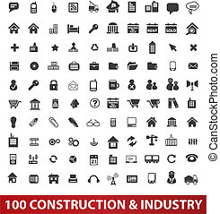 &, set, industrie, iconen, vector, bouwsector, honderd, ...
