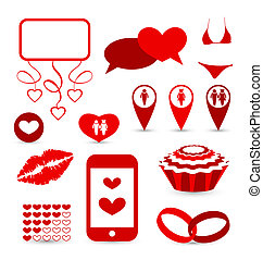Set infographic elements for valentine or wedding presentation