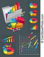 set, infographic, -, tabelle, colorito