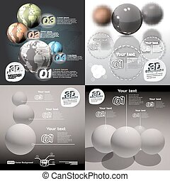 Set infographics 3d abstract with glossy balls with a picture of the planet