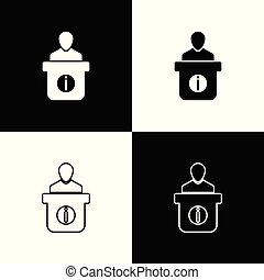 Set Information desk icons on black and white background. Man silhouette standing at information desk. Help person symbol. Information counter icon. Line, outline and linear icon. Vector Illustration