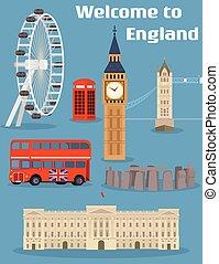 set, inghilterra, torre, palazzo, famoso, autobus, benvenuto, -, telefono, ben, buckingham, vettore, ponte londra, grande, punto di riferimento, posto, cabina, double-decker, occhio, rosso