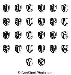 set Initial letter logo shield vector black