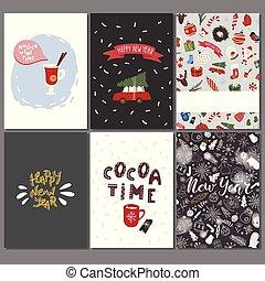 set, inverno, elements., augurio, disegno, cartelle, vacanza, natale