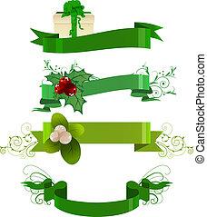 set, inverno, quattro, verde, bandiere, bianco