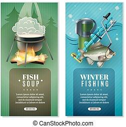 set, inverno, verticale, 2, pesca, bandiere