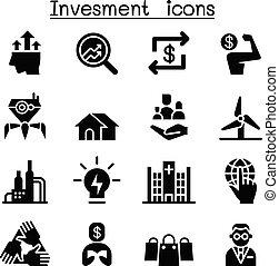 set, investering, zakelijk, pictogram