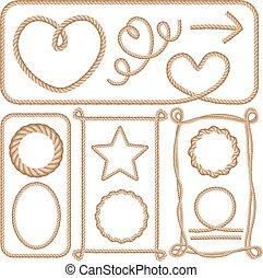 set., isolé, illustration, corde, vecteur, fond, cadres, blanc, dessin animé
