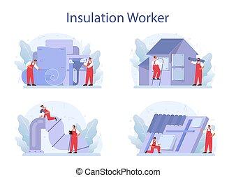 set., isolação, acústico, indústria construção, ou, conceito, insulation., térmico