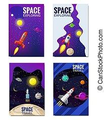 set, isolated., banners., distante, flyear, bandiera, spazio, volare, viaggiare, pubblicazione periodica, altro, vettore, stelle, razzi, manifesti, sagoma, universo, coperchio, pianeti, illustrazione, galassie, esplorazione, libro