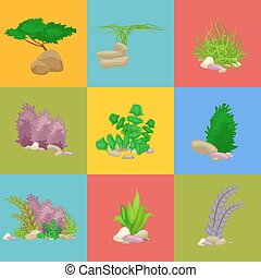Set isolated colorful corals and algae, Vector underwater flora, fauna.