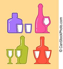 set isolated coorful bottles