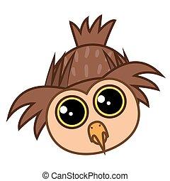 Set isolated Emoji character cartoon cute owl. Vector Illustrations