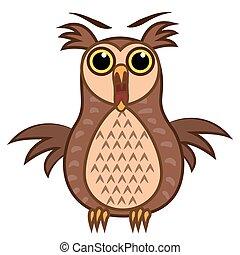 Set isolated Emoji character cartoon joy owl. Vector Illustrations