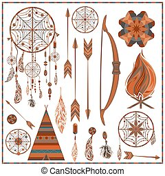 Set isolated ethnic elements arrows, feathers, beads, wigwam, onions, fire, earring