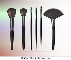 set, isolated., fare, spazzole, su, illustrazione, realistico, vettore