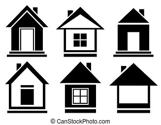 set isolated home silhouette - vector collection house icons
