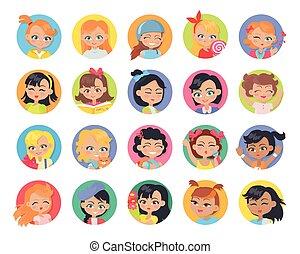 set, isolated., knopen, userpics, avatar, meisje