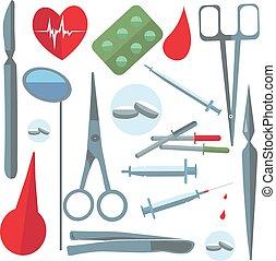 Set isolated medical items, tools, scissors, enema, tablets