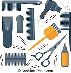 Set isolated tools for hairdresser hair, scissors, pins, combs