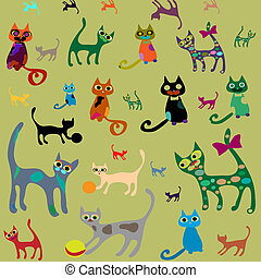 Set isolated vector cats.