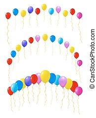 set, isolato, illustrazione, vettore, white., balloons., colorito