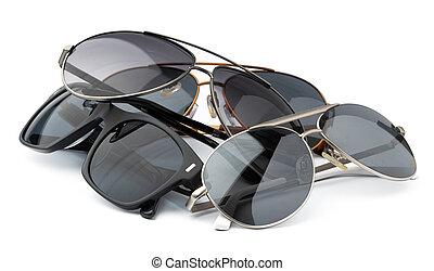 set, isolato, occhiali, fondo, bianco