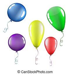 set, isolato, palloni, colorare
