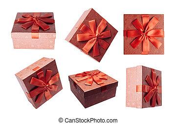 set, isolato, scatole, fondo, bianco rosso