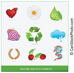 set, isolato, simboli, vetro, ecologia, verde