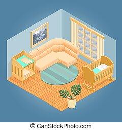 set., isométrique, meubles, vector., fragment, intérieur